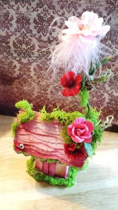 Sweetness handmade floral fairy house by maryfontones on Etsy, $42.00
