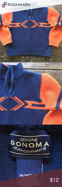 2for$15 Sonoma Boys Sweater Made in AU Gently used. In perfect condition. Sonoma boys sweater for age 5/6. Try to size. Made in Australia. Navy/orange. Bundle two or more items from my closet and save! 2for$15 Sonoma Shirts & Tops Sweaters