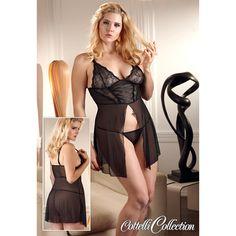 Verführerisches schwarzes Nachthemdchen für Frauen mit großer Größe. Dieses verlockende schwarze Kleidchen ist aus transparentem Material und verleiht Ihnen einen romantischen, sinnlichen Look. Das Kleid ist mit Spitzendetails und einem...