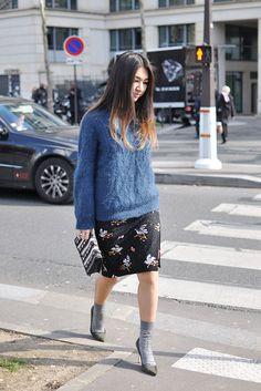 she's a guru. #MeruyertIbragim working a chunky knit in Paris.