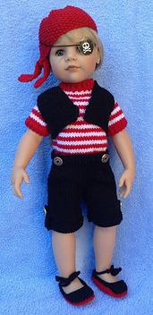 A Jolly Pirate outfit suitable for 18 and 19 inch dolls such as, American Girl Doll, Gotz Hannah Doll, My London Guy Ollie, and Designa Friend Josh.