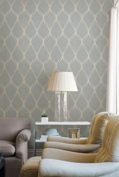 Luxe Living Room Decor Idea With A Dreamy Wallpaper Feature Wall