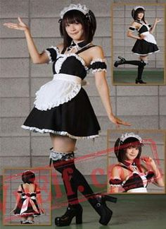 Classic Spaghetti Straps White And Black Cosplay Lolita Dress Funny Fancy Dress - Maid Outfit, Maid Dress, Dress P, Funny Fancy Dress, Funny Dresses, Maid Cosplay, Costume Dress, Cosplay Costumes, One Piece Dress