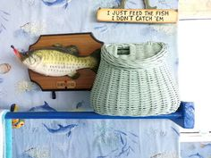 Vintage Blue Fishing Creel, fly fihing basket, gift for him, rustic decor, shabby chic fishing basket by Morethebuckles on Etsy Great Gifts For Dad, Cool Gifts, Gifts For Him, Best Gifts, Man Cave Gifts, Baby Blue Colour, Vintage Gifts, Vintage Ideas, Husband Birthday