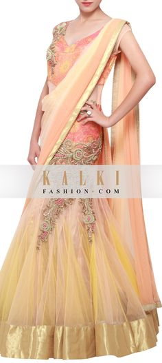 Featuring a net peach and cream shaded lehenga sari embellished in zardosi only on Kalki Indian Sarees Online, Buy Sarees Online, Indian Outfits, Indian Clothes, Bollywood Theme, Indian Party, Saree Collection, Lehenga, Indian Fashion