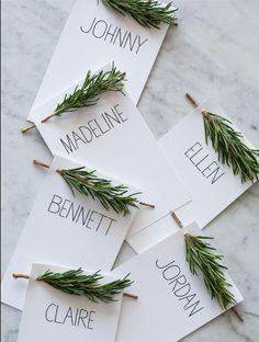 I found this idea on DIY Decorator and love it!  Print labels, then pierce a hole and add fresh rosemary or lavender.