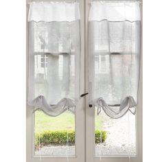 Cortina corta con encajes de lino gris 60 x 120 cm MARQUISE | Maisons du Monde