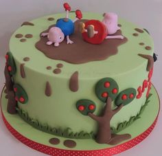 Peppa pig cake - love the muddy puddle theme! Tortas Peppa Pig, Bolo Da Peppa Pig, Pig Birthday Cakes, Birthday Cake Girls, 3rd Birthday, Birthday Ideas, Bolo George Pig, Fondant Cakes, Cupcake Cakes