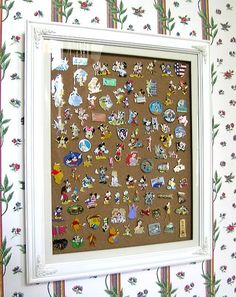 Pin trading display. Gotta remember this for the girl's new collection!