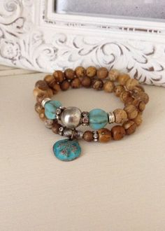 Jasper pair stretch bracelets // copperpatina by CountryChicCharms, $56.00