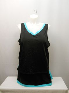 PLUS SIZE 28 Women 2PC Swimsuit Skirtini Set SWIM 365 Solid Black Seafoam V-Neck #SWIM365 #Skirtini