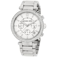 Michael Kors Parker Glitz Watch, Silver Color is one of the latest fashionable watches for women. This is a stylish watch which used by many. Sac Michael Kors, Michael Kors Outlet, Handbags Michael Kors, Michael Kors Watch, Coach Handbags, Coach Purses, Stainless Steel Bracelet, Stainless Steel Watch, Cartier Rolex