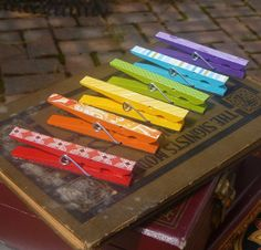 painted and papered clothespins