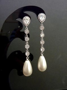 Bridal Pearl Earrings  Big Light Ivory Teardrop by JCGemsJewelry, $45.00