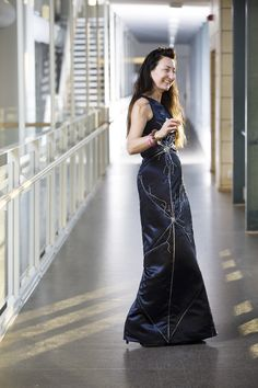 May-Britt Moser Accepts Nobel Prize Wearing Neuron Dress Depicting Her Discovery