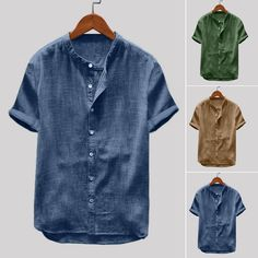 Men/'s Plain Slim Vintage Shirts Linen Striped Casual Holiday Party Formal Tops