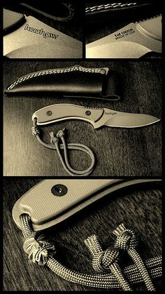 Kershaw Field Knife with paracord lanyard & Tiki bead