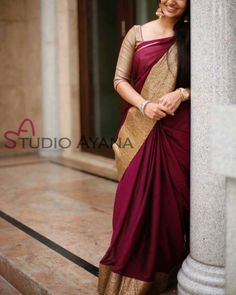 Elegant Fashion Wear Explore the trendy fashion wear by different stores from India Bridal Silk Saree, Saree Wedding, Soft Silk Sarees, Indian Attire, Indian Ethnic Wear, Indian Dresses, Indian Outfits, Indian Clothes, Simple Sarees