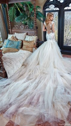 galia lahav bridal spring 2017 cap sleeves split sweetheart lace mermaid wedding dress (rihanna) bv illusion lowback long train