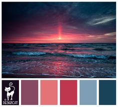 Shaded Sunset - Teal, Blue, Pastel, Pink, Dusky, Purple, Navy - Designcat Colour Inspiration Board