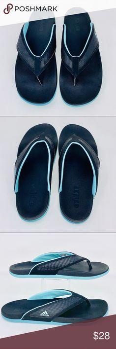 bb8d30514a683 Adidas men s flip flops Cloudfoam Black Blue Sz 10 Adidas Mens Flip Flops  Black   Blue