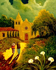 Night Visit to Carmelo Church, Oil Painting by Ed Sandoval Chicano, Southwestern Art, Southwestern Paintings, Karla Gerard, Land Of Enchantment, Mexico Art, Naive Art, Landscape Art, Painting & Drawing