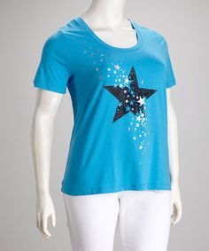 Take a look at this Blue Star Tee - Plus by Sport Elle on #zulily today! $22.99, regular 56.00 Sale ends in 1 days, 6 hours. In otherwords, sale ends on Friday, June 7th in the evening.