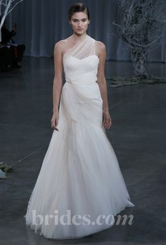 "Brides.com: Wedding Bloggers' Favorite Wedding Dresses from Fall 2013. ""Love the criss-cross draping of the tulle... still modern but soft."" —Vané Broussard  Browse more Monique Lhuillier wedding dresses."