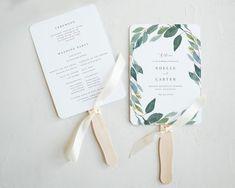 Editable Template - Instant Download Leafy Wedding Program Fan Woods Wedding Inspiration, Fan Image, Wedding Program Fans, Online Web, Wedding In The Woods, Web Application, Print Format, Textured Background, Personalized Wedding