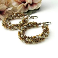 Bronze Golden Tan Large Hoop Earrings Wire Wrapped Seed Bead | TheSingingBeader - Jewelry on ArtFire