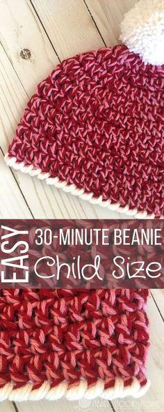 Child Size Easy 30-Minute Beanie Crochet Pattern http://hearthookhome.com/child-size-easy-30-minute-beanie-crochet-pattern/?utm_campaign=coschedule&utm_source=pinterest&utm_medium=Ashlea%20K%20-%20Heart%2C%20Hook%2C%20Home&utm_content=Child%20Size%20Easy%2030-Minute%20Beanie%20Crochet%20Pattern