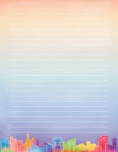 Printable Watercolor Skyline Stationery Free printable watercolor skyline stationery in JPG and PDF formats. The stationery is available in Printable Lined Paper, Free Printable Stationery, Student Planner Printable, Printable Stickers, Fancy Notebooks, Notebook Paper, Journal Paper, Stationery Paper, Writing Paper