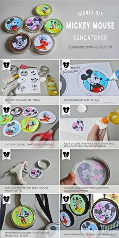 Mickey Mouse Suncatchers, a Simple Disney Craft for Kids - - Make Mickey Mouse Suncatchers from mason jar rings and coloring pages. This easy kids craft is perfect for celebrating Mickey's Birthday! Disney Princess Crafts, Disney Art Diy, Disney Crafts For Kids, Crafts For Teens To Make, Crafts To Sell, Fun Crafts, Disney Disney, Baby Crafts, Kids Diy
