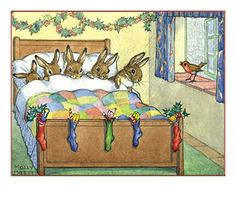 Molly Brett illustration of the little un's with their bunny stockings all out on Christmas Eve. Ahh!