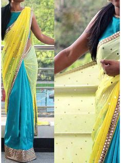 Yellow & Sky Blue Half Shaded Georgette Half Chiffon Designer Saree-PN-1005
