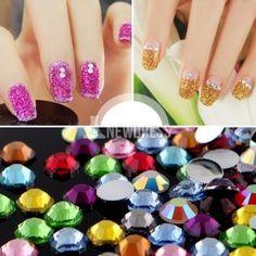 New Fashion 3000pcs Mix 12 Color 1.5mm Teardrop Nail Art Rhinestones Deco Glitters Gems