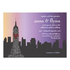 New York City Skyline Cityscape Wedding Invitation Bachelorette Party Invitations, Custom Wedding Invitations, Bridesmaid Thank You Cards, Different Font Styles, Sleepless In Seattle, Anna, Wedding Postcard, Night City, New York Wedding