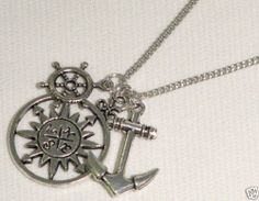 Anchor Compass Sailing Wheel Nautical Charm Pendant Necklace | eBay