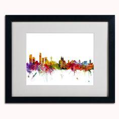 'Liverpool England Skyline' by Michael Tompsett Framed Graphic Art