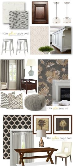 The Yellow Cape Cod: Gray/Tan Transitional Style Multiroom Design-Part I. Design Plan.
