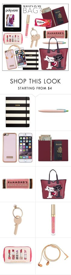 """What's In My Bag?"" by pat912 ❤ liked on Polyvore featuring Kate Spade, Ted Baker, Royce Leather, Karl Lagerfeld, Maison Margiela, Stila, Accessorize, Happy Plugs and inmybag"
