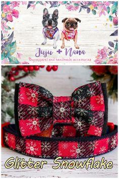 Christmas dog collar with Bow, Buffalo Plaid dog collar, Red Glitter Snowflake dog collar Handmade Accessories, Pet Accessories, Plaid Dog Collars, Bow Tie Collar, Large Dog Breeds, Girl And Dog, Red Glitter, Dog Bowtie, Christmas Dog