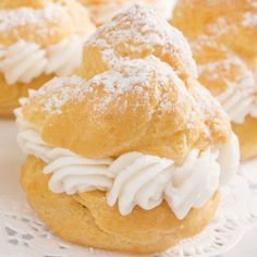A very yummy recipe for powdered cream puffs. These cream puffs are filled with a home made custard and topped with icing sugar.. Powdered Puffs Recipe from Grandmothers Kitchen.