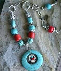 Turquoise and Coral Necklace Hamsa Necklace Long Boho by LKArtChic