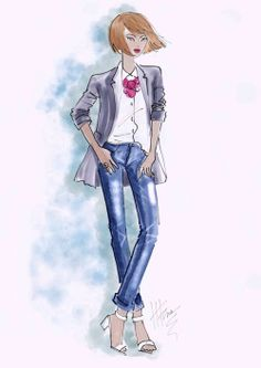 Boyfriend Jacket and jeans by Heather Fonseca. Corel Painter.