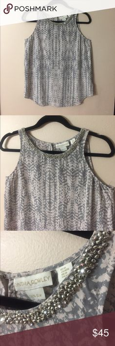 """CYNTHIA ROWLEY Silk Top with Beaded Collar NWOT!! Elegant 100% silk top. Pale pink and grey pattern with collar decorated with silver beads and rhinestones! Does not stretch. Laid flat chest measures 19"""", length from shoulder to hem is 24"""". Cynthia Rowley Tops"""