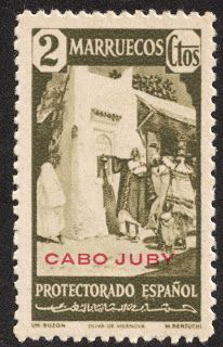 """Cape Juby  1940 Scott 91 2c olive green,""""Mail Box"""", red overprint On stamps of Spanish Morocco, 1940"""