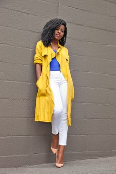 Yellow Trench Styling by Style Pantry // apart from the shoes this is a possibility! Fitted Denim Shirt, Style Pantry, Culottes, Wide Leg Trousers, Jeans Style, Women's Fashion Dresses, Her Style, Casual Looks, Casual Wear