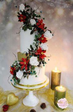 Winter wedding baby gender reveal. by Amelia Rose Cake Studio