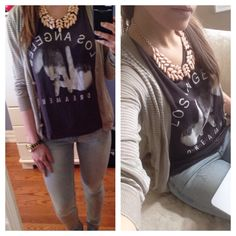 Graphic tee + statement neckless
